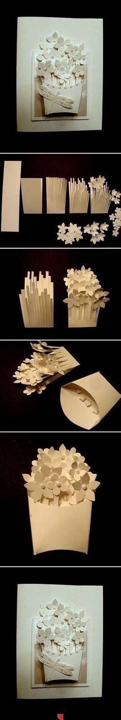 Como fazer um buquê de flores de papel para cartão o quadrinho.