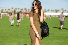 40+ Coachella Street Style Looks That Bring The Heat #refinery29  http://www.refinery29.com/2015/04/85205/coachella-2015-street-style-pictures#slide-17  A T-shirt dress gets dressed up with a high slit.