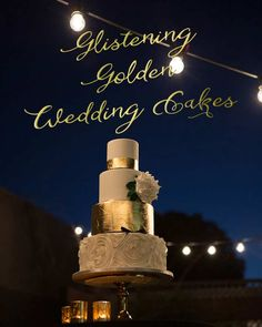 Be inspired by our round-up of Glistening Golden Wedding Cakes on the blog!