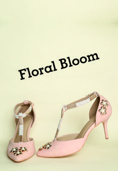 Floral shoes might be hard to ignore by the average diva. These washed Nude D'orsays coupled with pearls and gold florals & delicately lined straps with baby pearls. Indian Shoes, Pearl Shoes, T Strap Shoes, Baby Pearls, Floral Shoes, Casual Heels, Nude Heels, Toe Shape, Shoe Shop