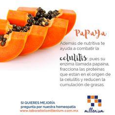 La papaya tiene grandes beneficios para tu salud entre ellos te ayuda a combatir la celulitis. Intégrala a tu dieta cotidiana!