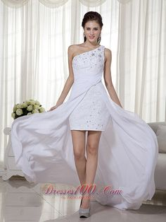 Buy one shoulder white high low prom gown dress column chiffon with beading from high low prom dresses shop, one shoulder neckline column/sheath white prom dress,cheap with train prom party homecoming dress with backless back and bush train. White Pageant Dresses, High Low Prom Dresses, Pretty Prom Dresses, Chiffon Evening Dresses, Prom Dresses For Sale, Prom Party Dresses, Dresses 2013, Prom Dreses, Graduation Dresses