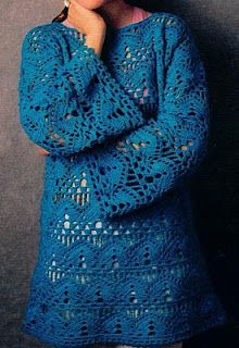 """Crochet Openwork Tunic: free pattern I'd love this in Aqua for a beach cover up! """"Crochet Openwork Tunic: free pattern I'd love this in Aqua for a beach c Crochet Bolero, Crochet Tunic, Crochet Jacket, Crochet Clothes, Crochet Hooks, Crochet Top, Crochet Sweaters, Crochet Stitch, Knitting Patterns Free"""