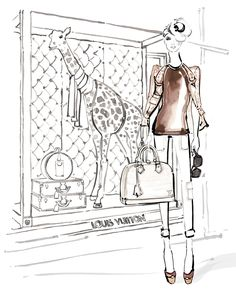 Louis Vuitton (for lv.com) This was the first of a series of illustrations I created for fashion house Louis Vuitton Paris in January 2013 for the Paper Dolls collaboration.