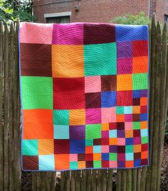Mom! I want this in all greens! An interesting quilt pattern  CUSTOM QUILT - Scattering Squares - Modern Patchwork Quilt - Made to Order in Colors of Your Choice. $190.00, via Etsy.