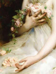 ⊰ Posing with Posies ⊱ paintings & illustrations of women & children with flowers - Jeune Femme,detail - Etienne Adolphe Piot. Old Paintings, Beautiful Paintings, Art And Illustration, Illustrations, Renaissance Kunst, Classical Art, Fine Art, Old Art, Aesthetic Art