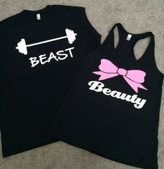 Beauty and Beast - Couples Workout Shirts - Fitness Tanks - Matching T | Ruffles with Love NOW SELLING ON RUFFLES WITH LOVE.COM