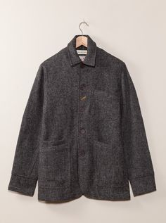 Universal Works Charcoal Bakers Jacket in Harris Tweed