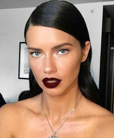 Feeling glam with Adriana Lima. #celebrity #celebritymakeup #adrianalima #burgundylips #lipstick #makeup #victoriassecret