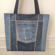 Grand Tote Bag / Sac shopping doublé, multipoches en jeans recyclés                                                                                                                                                      Plus