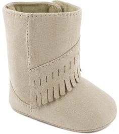 Wee Kids Baby Wee Kids Faux-Suede Fringe Moccasin Boot Crib Shoes