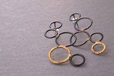 Steel & Gold Bubble Earrings.  Metamorphosis Metals.  $135