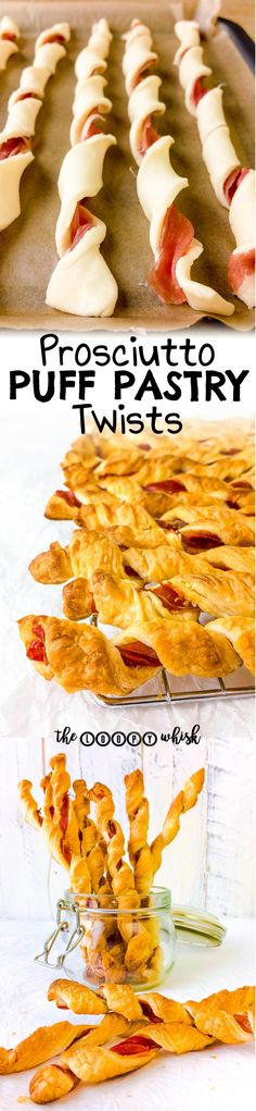 These savoury prosciutto puff pastry twists make the ideal last-minute party nibble or appetiser, or simply a delicious snack. Quick and easy! Best Party Appetizers, Nibbles For Party, Best Party Food, Appetizer Recipes, Snack Recipes, Birthday Appetizers, Pumkin Recipes, Baking Snacks, Elegant Appetizers