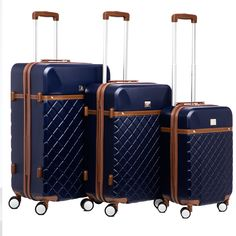 This 3-piece Hardside Luggage Set from Anne Klein features quilted exteriors and faux leather trim across three different sizes. Set includes a 28-inch spinner suitcase, 24-inch spinner suitcase, and 20-inch carry-on spinner suitcase.