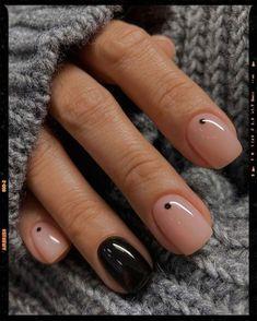 Frensh Nails, Cute Gel Nails, Chic Nails, Hair Skin Nails, Cute Acrylic Nails, Stylish Nails, Pretty Nails, Pretty Short Nails, Black Shellac Nails