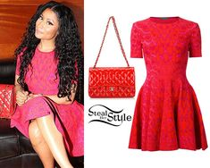 Nicki Minaj stopped by Bliss Nightclub in Washington DC after her Pinkprint Tour concert last night wearing a hot pink and red Alexander McQueen Leopard Print Skater Dress (sold out) and a bright red Chanel Quilted Jumbo Classic Double Flap Bag ($6,000.00, wrong color).  You can get the look for less with a hot pink dress from Amazon ($22.90) and a red quilted bag from Kohl's ( $28.99).