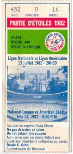 1982 All Star Game Montreal stub
