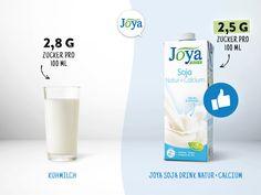 Joya Soja Drink Natur + Calcium schmeckt frisch und kann wie Milch verwendet werden: Zum Kaffee, im Lieblingsmüsli, zum Kochen, Backen oder einfach pur. Der Zuckergehalt ist sogar etwas niedriger als in Vollmilch.  #soja #vegan #milchalternative #milch #zucker #pflanzlich #joyaworld #joya Smoothie, Vegan, Glass Of Milk, Drinks, Food, Soy Milk, Sugar, Kaffee, Fresh