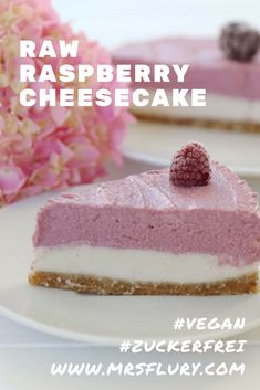 Raw Raspberry Cheesecake vegan & sugar-free cake recipes for two recipes fry recipes <-> Raw Cheesecake, Classic Cheesecake, Easy Cheesecake Recipes, Raspberry Cheesecake, Homemade Cheesecake, Dessert Simple, Bon Dessert, Dessert Bars, Raw Vegan Cake