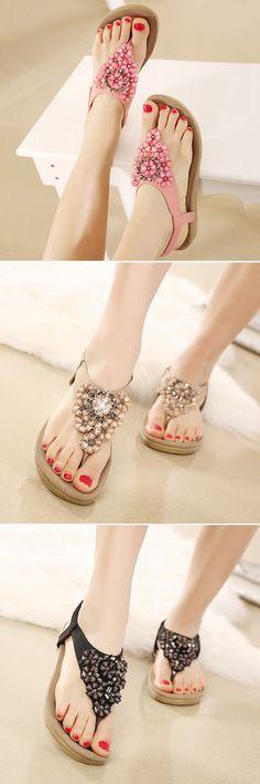 US$16.05 Bohemian Floral Bead Crystal Slip On Elastic Flat Beach Sandals
