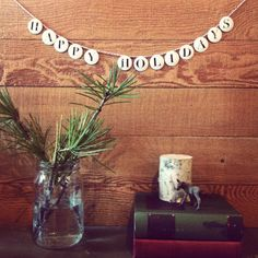 Simple garland and pine in mason jars