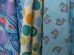 Whales Dolphins Zoo Polka Dots Set of 3 Swaddling by BAGSbyMartha, $28.00