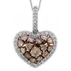 2.00ct 14k Two-tone Rose Gold White & Fancy Color Diamond Heart Pendant Necklace-Allurez.com