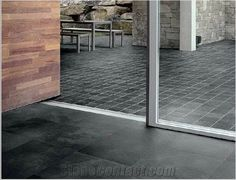 honed slate tiles from brazil. only comes in black, gray, green