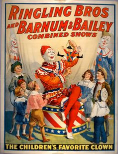 "Ringling Bros and Barnum & Bailey combined shows circus poster (1920) ""The children's favorite clown!"""