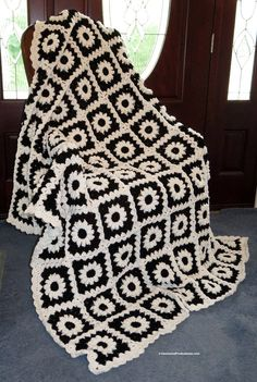 """Large Afghan Blanket - Black and White Hand Crocheted Highly Textured with Scalloped Border - Bed Couch Dorm Fireplace - 74""""x60"""" - Item 4877 by EvensensProductions on Etsy"""