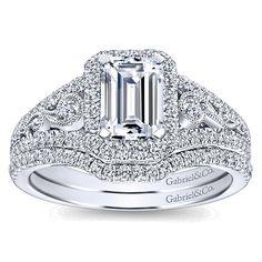 14k White Gold Diamond Emerald Cut Pave Halo Engagement Ring and Filgree Setting angle 4
