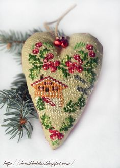 Point de Croix - craft it with an image of your home at the holidays.