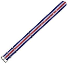 53% Off was $29.95, now is $13.95! NATO Ballistic Nylon Watch Band - Navy with White & Red stripes - 20mm