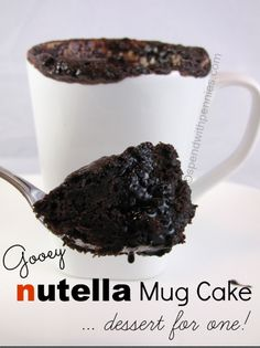 Nutella Mug Cake!  Warm and gooey.. it's like a hug in a mug for one!! <3