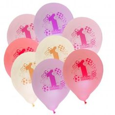 Pack of 8 1st Birthday Balloons - Birthday Girl Party Decoration Ideas
