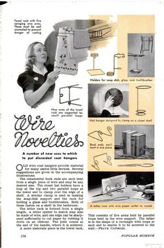 Turn old wire hanger into book stand, letter holder and more. ~Popular Science 12/1939
