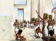 Queen Hatshepsut receiving offerings in ancient Egypt