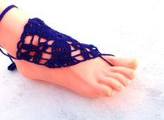 Crocheted blue lace barefoot sandals  beach by craftbypeonija