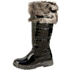 Womens Winter Warm Fur Black Rubber Waterproof Snow Boots | Santa