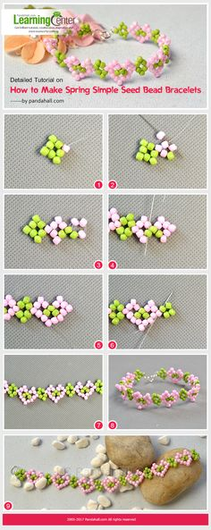 Detailed Tutorial on How to Make Spring Simple Seed Bead Bracelets