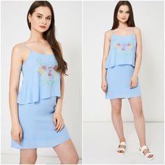 Blue Layered Spaghetti Strap Summer Dress Sizes UK 8 10 12 Embroidered Birds NEW Embroidered Dresses, Embroidered Bird, Strappy Summer Dresses, Overlays, Cami, Peplum Dress, Spaghetti, Layers, Birds