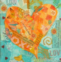 """LOVE Original Tiny Orange and Turquoise Heart Paper Collage on 4"""" X 4"""" X1.5"""" canvas Painted Paper, Hand Painted, Tiny Oranges, Apple Painting, Paper Collage Art, Orange And Turquoise, Paper Hearts, Paper Dimensions, Mixed Media Collage"""