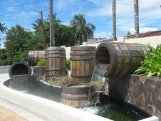 Wine Barrel Water Feature Obviously couldn't do the whole thing, but love the idea of turning a wine barrel into a water feature :)