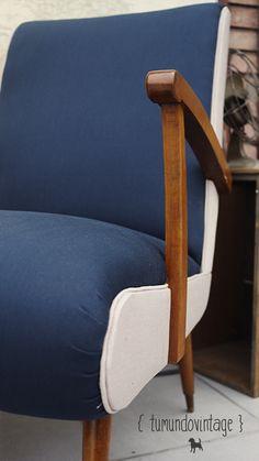 SILLON AMERICANO → tapizado en gabardina, restaurado a nuevo ↑