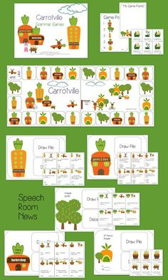 Speech Room News: Carrotville-Spring Grammar Games. Pinned by SOS Inc. Resources. Follow all our boards at pinterest.com/sostherapy for therapy resources.