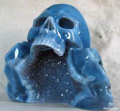 Amethyst Geode Agate Carved Crystal Skull by Skullis
