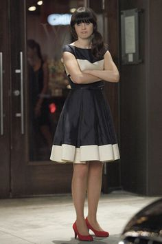 Navy and cream flared color block dress from New Girl | Zooey Deschanel Fashion and style inspiration ♥ WWZDW What would Zooey Deschanel wear?