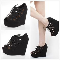 Soda RESIST Cutout Lace Up Platform Weges Fashion Women Shoes