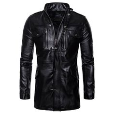 aaea3ecb13 Extra Off Coupon So Cheap Men s Jacket Mid-length Faux Leather Jackets  Motorcycle Slim Fit Black Coats