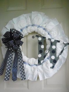 Items similar to 20 inch Navy Blue White and Grey Baby Boy Diaper Wreath with Polka Dot Initial and Chevron Ribbon on Etsy Baby Shower Parties, Baby Shower Gifts, Shower Party, Baby Showers, Baby Boy Or Girl, Baby Love, Reef Girls, Diaper Wreath, Blue And White